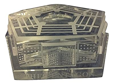 3D Laser Etched The Pentagon Building Crystal Paperweight Model, Washington DC Souvenirs