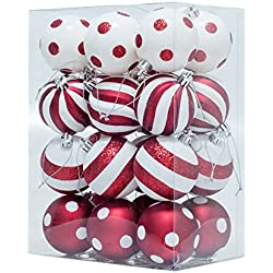 "KI Store 24pcs Christmas Balls Shatterproof Ball Ornaments with Red and White Polka Dots Stripes Design, for Xmas Trees, Parties, and Holiday Decoration (2.36"")"
