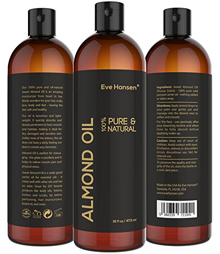 16oz SWEET ALMOND OIL - 100% Pure & Natural Moisturizer from Head to Toe & Best Carrier Oil - SEE RESULTS OR MONEY-BACK - Works wonders for your hair, scalp, face, body and feet. Perfect for massage. (Natural Almond Oil compare prices)