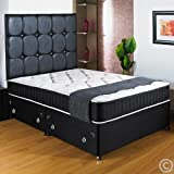 Hf4you New Ortho Black Deep Quilted Divan Bed - 4ft Small Double - 2 Drawers Same Side - No Headboard