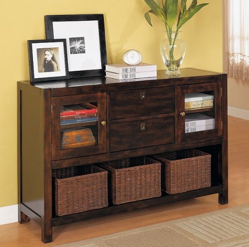 Cheap Coaster Dickson Console Table with Basket Storage in Warm Tobacco Finish (B004JMS232)