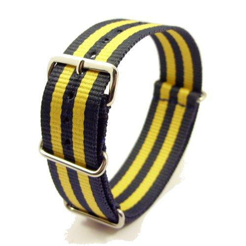 Zeitpunkt-Nylon Watchband blue/yellow 18mm