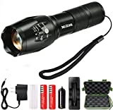 Mizoo LED Flashlight Torch Adjustable Focus Zoomable Mini Generic , Super Bright - Sturdy and Durable Aluminium Structures - Water Resistant Lighting Lamp Torch For Hiking, Camping, Emergency