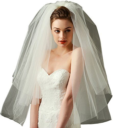 LynnBridal Wedding Veil Tulle Bubble Style Elbow Length 2 Tiers with Comb Ivory
