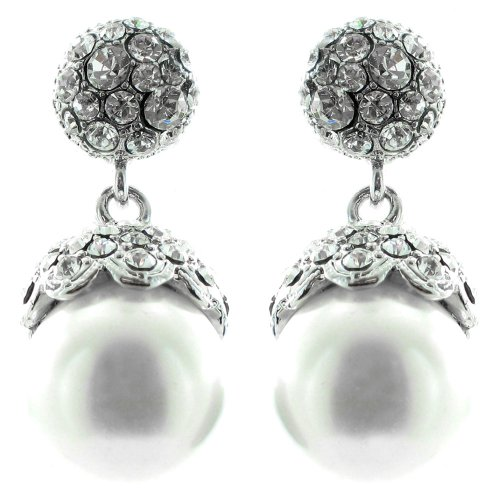 White And Clear Crystal On Silver Plated Precious Diamante Pearl Earrings front-513559