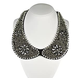 Wrapables Beaded Peter Pan Collar Necklace with Flower Accents, Silver