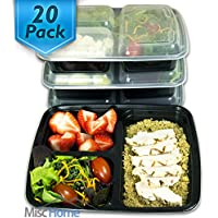 20-Pack 3-Compartment Meal Prep Containers BPA Free Portion Control Bento Boxes (39 Oz.)