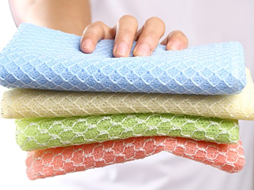 SkinCareMedi - Korean Exfoliating Bath Towel Set (Pack of 4) / Wash Cloth With Soap & Gel / Back Scrubber for Shower Body Scrub / Hard Weave Soft & Smooth knitted loofah / 4Colors 2materials (Wash Scrubber compare prices)