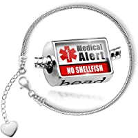 Charm Set Medical Alert Red No Shellfish - Bead comes with Bracelet , Neonblond by NEONBLOND
