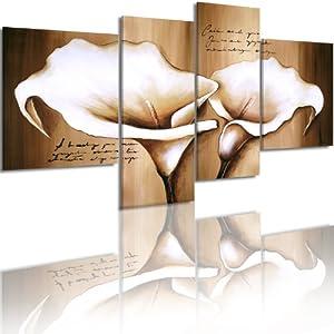 bild auf leinwand 4 teilig blumen kalien eleganz wandbilder 22627 84x60 cm riesen. Black Bedroom Furniture Sets. Home Design Ideas