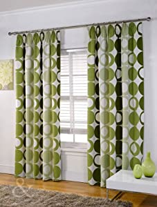 pleat lined curtain green cream olive lime curtain 46 x 90 extra