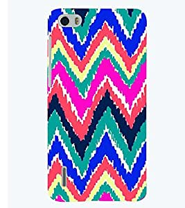 Printvisa Premium Back Cover Multicoloured Zig Zag Pattern Design For Huawei Honor 6