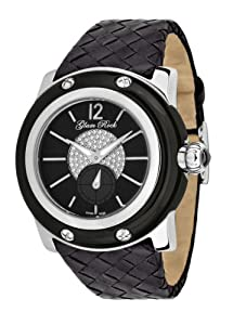 Glam Rock Women's GR10055 Miami Collection Diamond Accented Black Woven Leather Watch