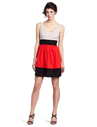 BB Dakota Women's Vera Dress, Poppy Red/Black/Oyster, 0