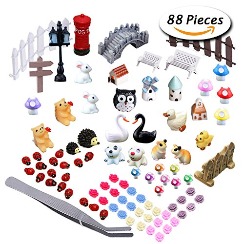 Paxcoo 87 Pcs Miniature Ornaments Kit Set with 1 Pcs Tweezer for DIY Fairy Garden Dollhouse Décor (Chicken House Kit compare prices)