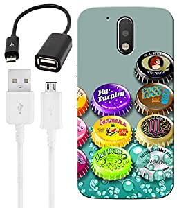 Indiashopers Combo of Bottle Cap Bubble HD UV Printed Mobile Back Cover, Charging Cable and OTG Cable For Moto G4 Plus