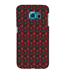 iFasho Animated Pattern small red rose flower with black background Back Case Cover for Samsung Galaxy S6 Edge