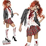 M2C Girls Bloody Horrible Zombie School Costume for Halloween Night Party
