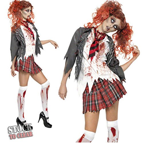 [M2C Girls Bloody Horrible Zombie School Costume for Halloween Night Party] (High School Zombie Costumes)