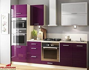 Kuchenzeile 168892 Kuchenblock 240cm jersey / violett Hochglanz