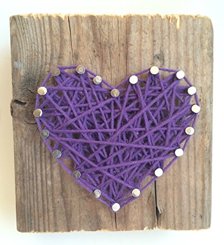 Rustic purple string art heart block - A unique gift for Weddings, Anniversaries, Valentine's Day, Christmas, Birthdays, New baby girls and just because gift.