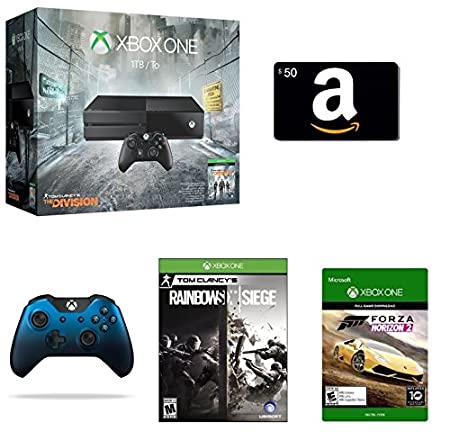 Xbox One 1TB Console - The Division Bundle + $50 Amazon Gift Card [Physical Card] + Rainbow Six Siege [Physical Disc] + Xbox One Special Edition Dusk Shadow Wireless Controller + Forza Horizon 2 [Emailed Digital Code]