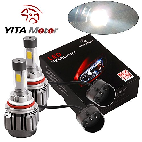 YITAMOTOR 9007 HB5 LED Headlight Kit 120w 12000lm 4 Side COB Headlight Dual Beam High Low LED Kit 6000K Super White Replace for Halogen or HID Bulbs (9007 High Low Led Headlight Bulb compare prices)