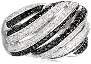 Sterling Silver Diagonal Multi-Rows Black and White Diamond Ring (0.83 cttw, I-J Color, I2-I3 Clarity), Size 7 by JPI