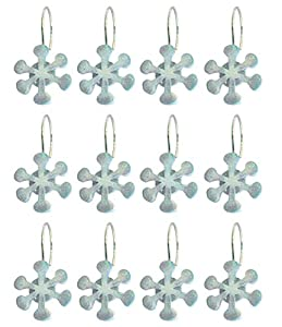 Snowflake Shower Curtains with Glitter Accents Bathroom Winter Decor Set of 12