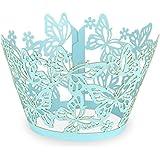"""Elfenstall Cupcake / Muffin Papierförmchen - Zierumrandung - Dekorand """" Schmetterlinge / Butterfly """" 12 Stück für Hochzeiten Partys oder Feste (türkis)"""