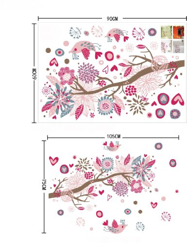 Walplus huge bird flowers tree butterflies children kids girls wall stickers - Stickers poubelle exterieur ...