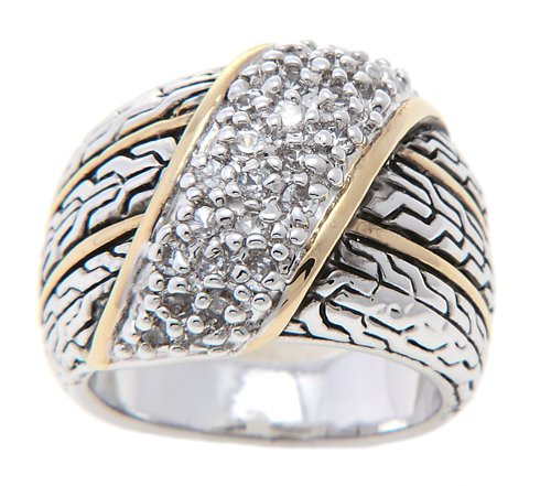 Cigar Style Band Set with Cubic Zirconia Wide Cocktail Ring (8)