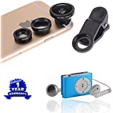 Apple Iphone 5c Compatible Certified 3 In 1 Universal Clip Mobile Phone Lens Fish Eye With Metal MP3 Player With...