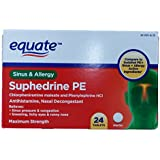 Equate Suphedrine PE Maximum Strength Sinus and Allergy 24ct Tablets Compare to Sudafed PE Sinus + Allergy