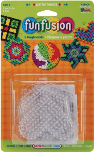 7 pcs Perler Beads Fun Fusion Bead Pegboards 5-Pack: Circle/Star/Heart/Hexagon/Square and 2 pcs Ironing paper
