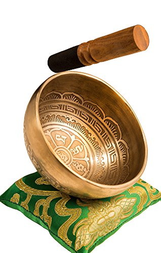 Tibetan Handmade Singing Bowl Set By YAK THERAPY - Om Mani Padma Hum - Excellent Resonance Healing & Meditation Yoga Bowl with Mallet, Silk Cushion, & Silk Bag - Crown Chakra Balancing - Made in Nepal (Singing Bowl Set Crystal compare prices)
