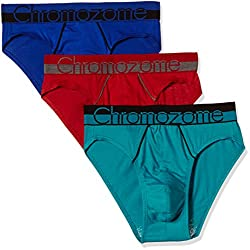 Chromozome Men's Cotton Brief (Pack of 3) (8902733349444_WS 02_Small_Aquatonic, World Blue and UV Red)