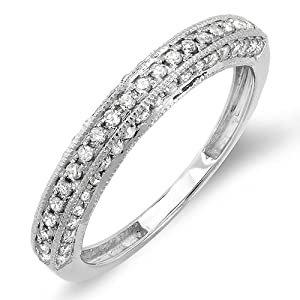 0.50 Carat (ctw) 10K White Gold Round Diamond Anniversary Wedding Band Guard Matching Ring 1/2 CT (Size 7)