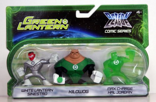 Green Lantern Action League Comic Series 3Pack White Lantern Sinestro, Kilowog Max Charge Hal