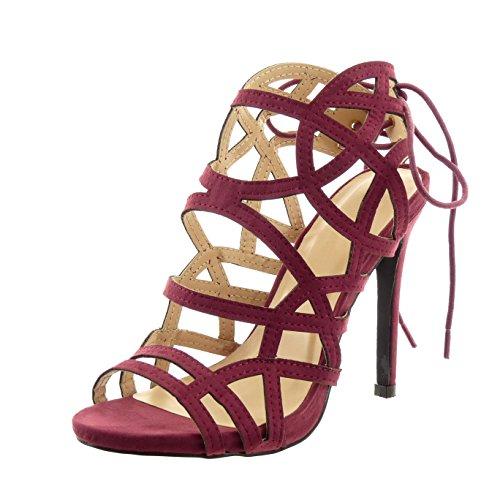 Sopily - Scarpe da Moda sandali scarpe decollete stiletto gladiatore alla caviglia donna multi-briglia lacci Tacco Stiletto tacco alto 11 CM - Rosso WLD-14-151-21 T 39