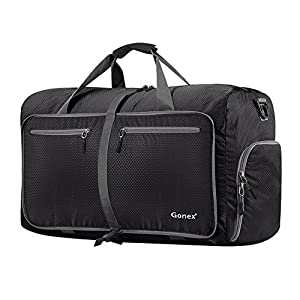 Gonex 60L Foldable Travel Duffel Bag Water & Tear Resistant, Black by Gonex