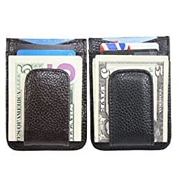 Men\'s Leather Wallet Credit Card ID Holder Money Clip (Black & Brown)