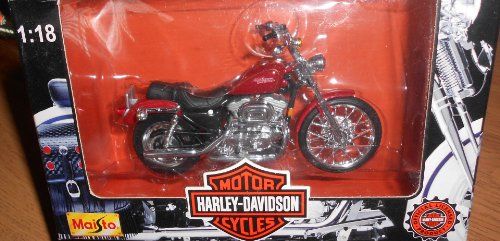 Maisto Harley Davidson Motorcycles (Series 1 1997) 1:18 Scale XL 1200C Sportster 1200 Custom (Red)