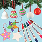 Festive Porcelain Painting Super Value Pack! Save 17% when bought in pack! Decorate and personalise these Ceramic Christmas decorations. Includes 6 ceramic baubles, 4 ceramic bells, 6 ceramic star hanging decorations and 6 brilliant porcelain paint pens.