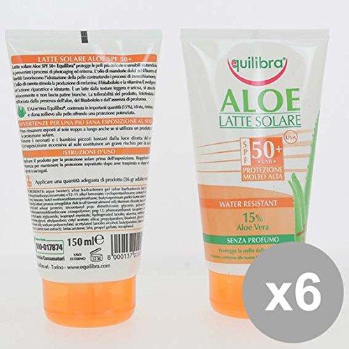 Set 6 EQUILIBRA Latte Solare Fp50 Aloe 150Ml Creme solari e doposole e doposole