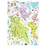 Easy Instant Home Decor Wall Sticker Decal - Colorful World Map for Children Continents Countries