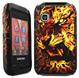Cellmax Samsung GT-C3300K Champ Hard Shell Back Protection Case With Burning Tiger Pattern Skin Clip On Protection