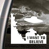 "NI135 X-Files I Want To Believe White Vinyl Decal Sticker | 5.2""t X 6""w"