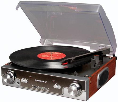 Crosley CR6005A-MA Tech Turntable with AM/FM Radio and Portable Audio Ready (Mahogany) (Turntable Am Fm compare prices)