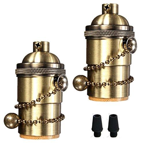 EFINEHOME Efine 2 Pack E26/ E27 Solid Brass Industrial Light Socket Vintage Edison Pendant Lamp Copper Holder With Chain Switch (Bronze)